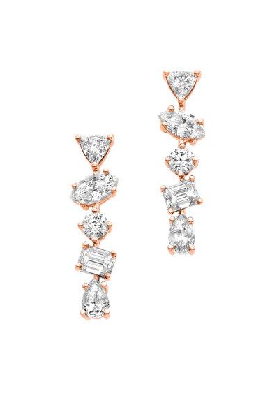 Kimberly McDonald - 18K Rose Gold Diamond Bar Earrings