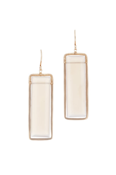 Dana Kellin - 14K Yellow Gold Beige Moonstone Drop Earrings