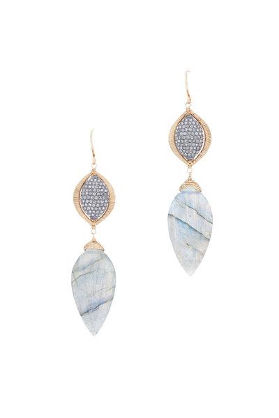 Dana Kellin - 14K Gold Labradorite & Pavé Diamond Drop Earrings