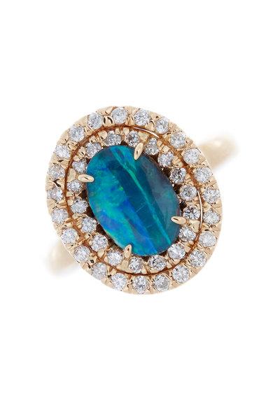 Kimberly McDonald - 18K Rose Gold Boulder Opal & Diamond Ring