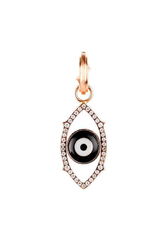 Sylva & Cie Rose Gold Diamond Dark Green Evil Eye Pendant