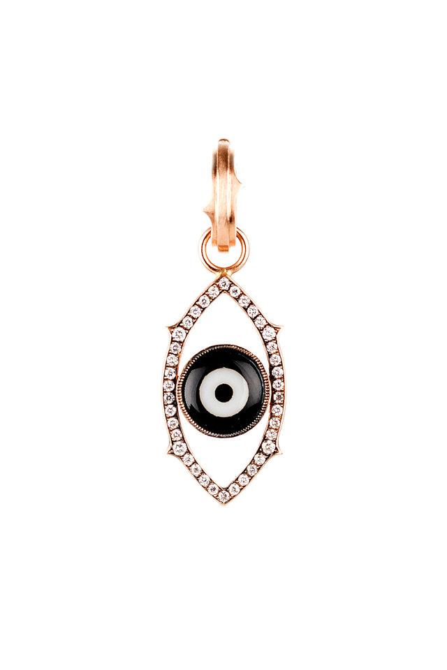 Rose Gold Diamond Dark Green Evil Eye Pendant