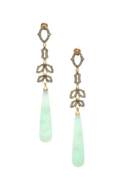 Sylva & Cie - Gold Chrysoprase Diamond Drop Earrings