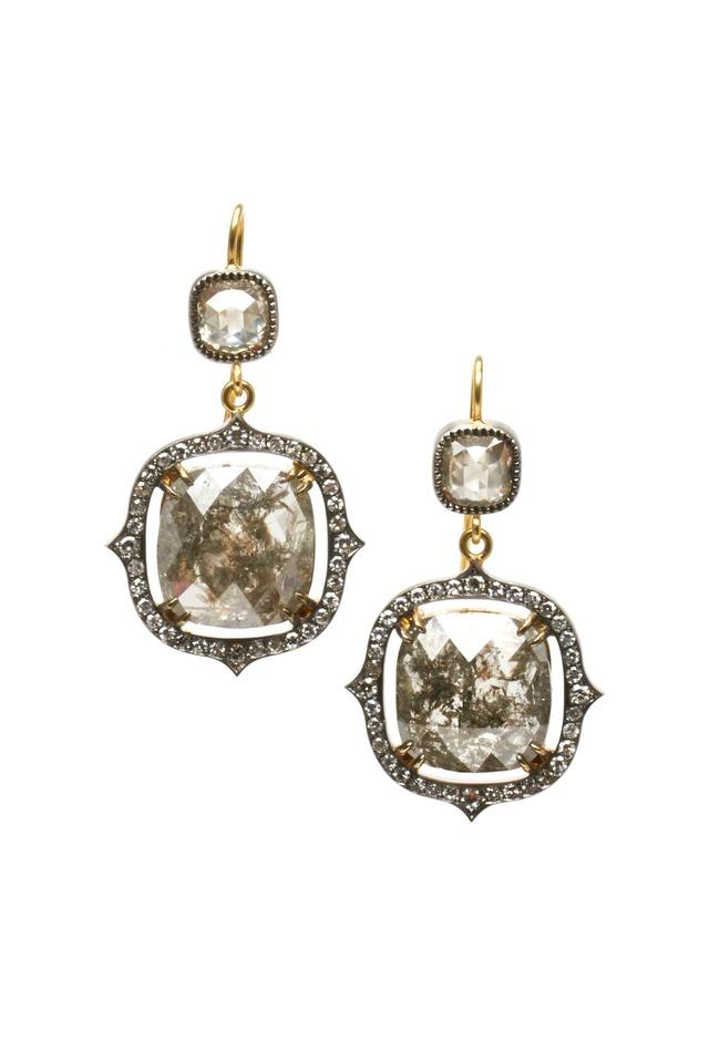 Gold Rough & White Diamond Earrings
