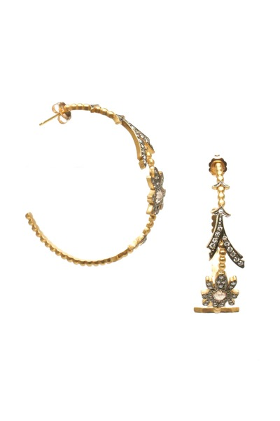 Sylva & Cie - Gold Botanical Diamond Hoop Earrings