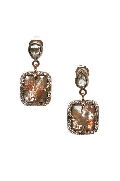 Sylva & Cie - Rose Gold Rough & White Diamond Drop Earrings
