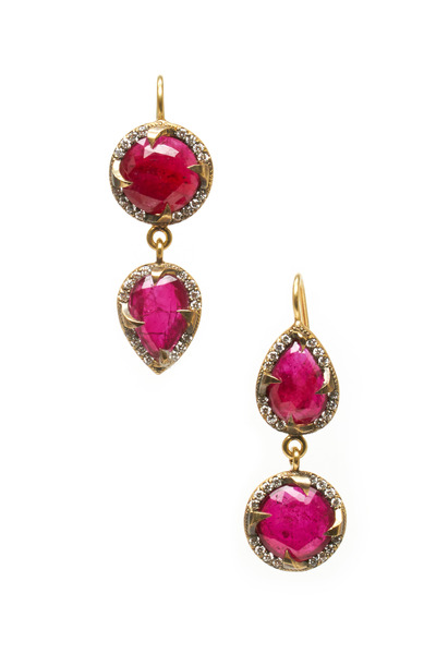Sylva & Cie - Gold Double Drop Diamond & Ruby Earrings