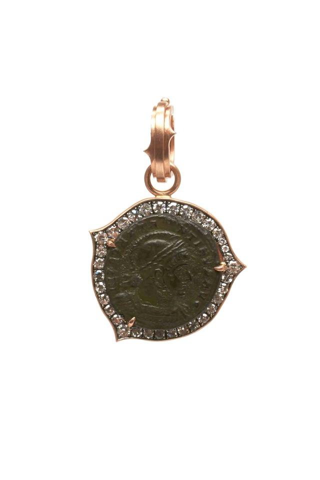 Rose Gold Diamond Constantine Roman Coin Pendant