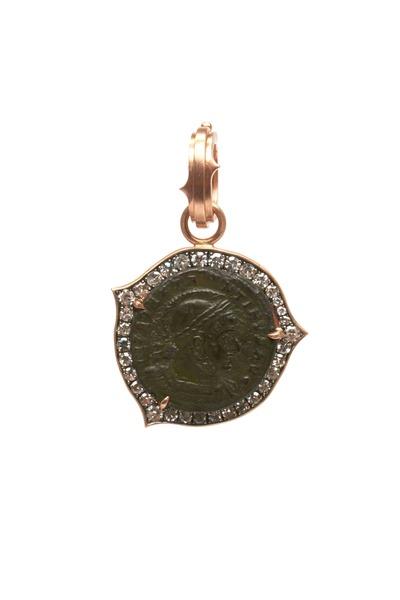 Sylva & Cie - Rose Gold Diamond Constantine Roman Coin Pendant