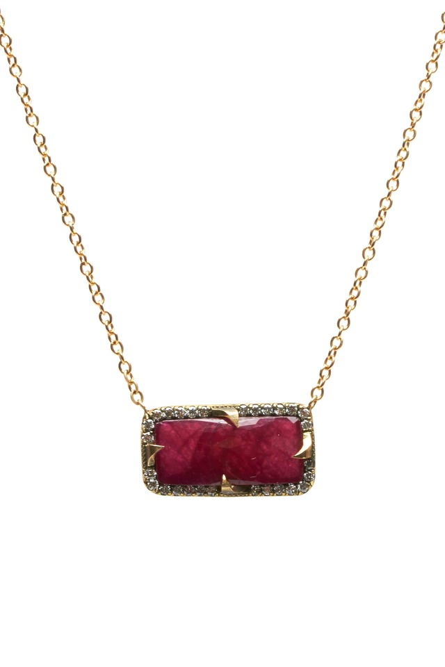 Yellow Gold Diamond Ruby Pendant Necklace