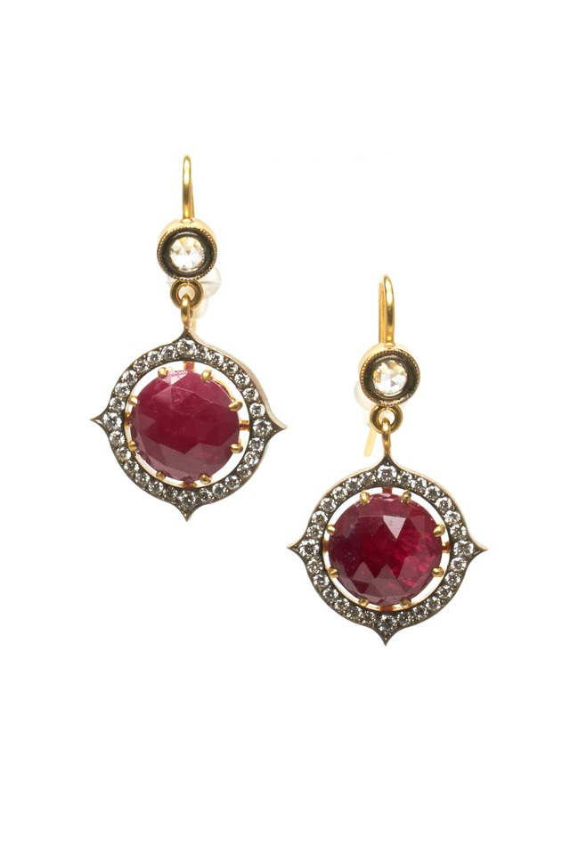 Gold Ruby Diamond Earrings