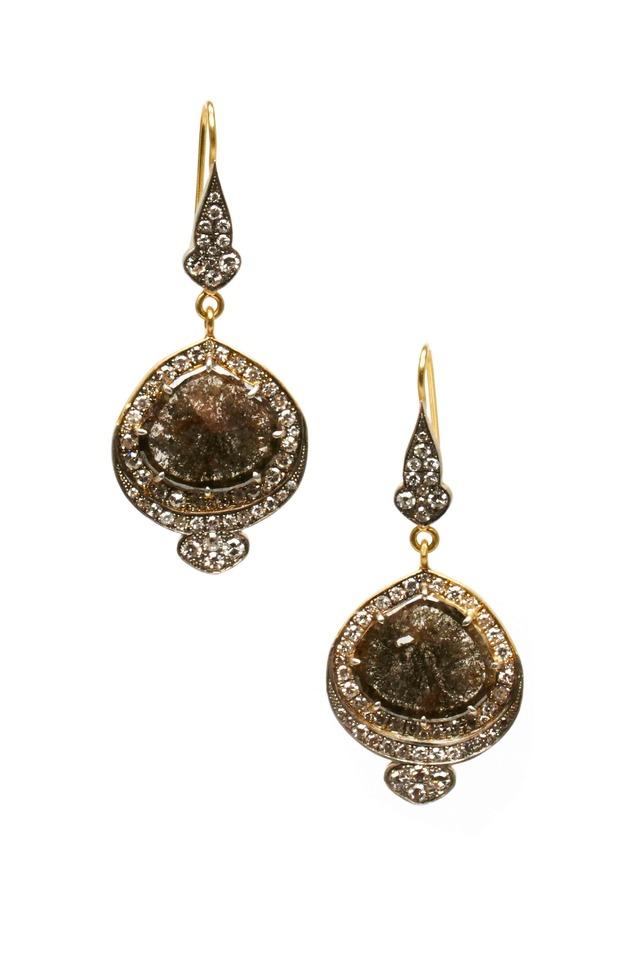 Gold Sterling Silver Rough Diamond Drop Earrings
