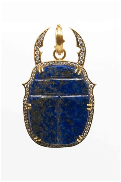Sylva & Cie - Gold Lapis & Diamond Scarab Pendant