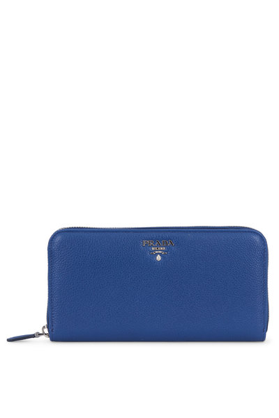 Prada - Bluette Pebbled Leather Zip-Around Wallet
