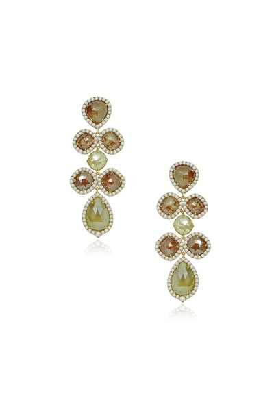 Sutra - Gold Diamond Chandelier Earrings