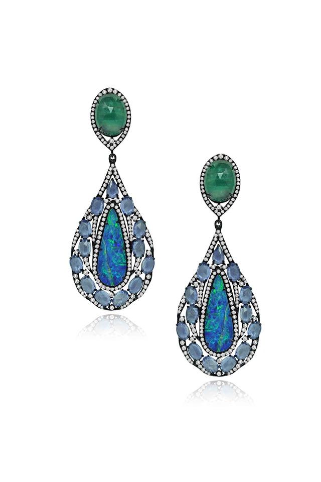Gold Opal Emerald Sapphire Diamond Earrings