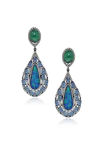 Sutra - Gold Opal Emerald Sapphire Diamond Earrings
