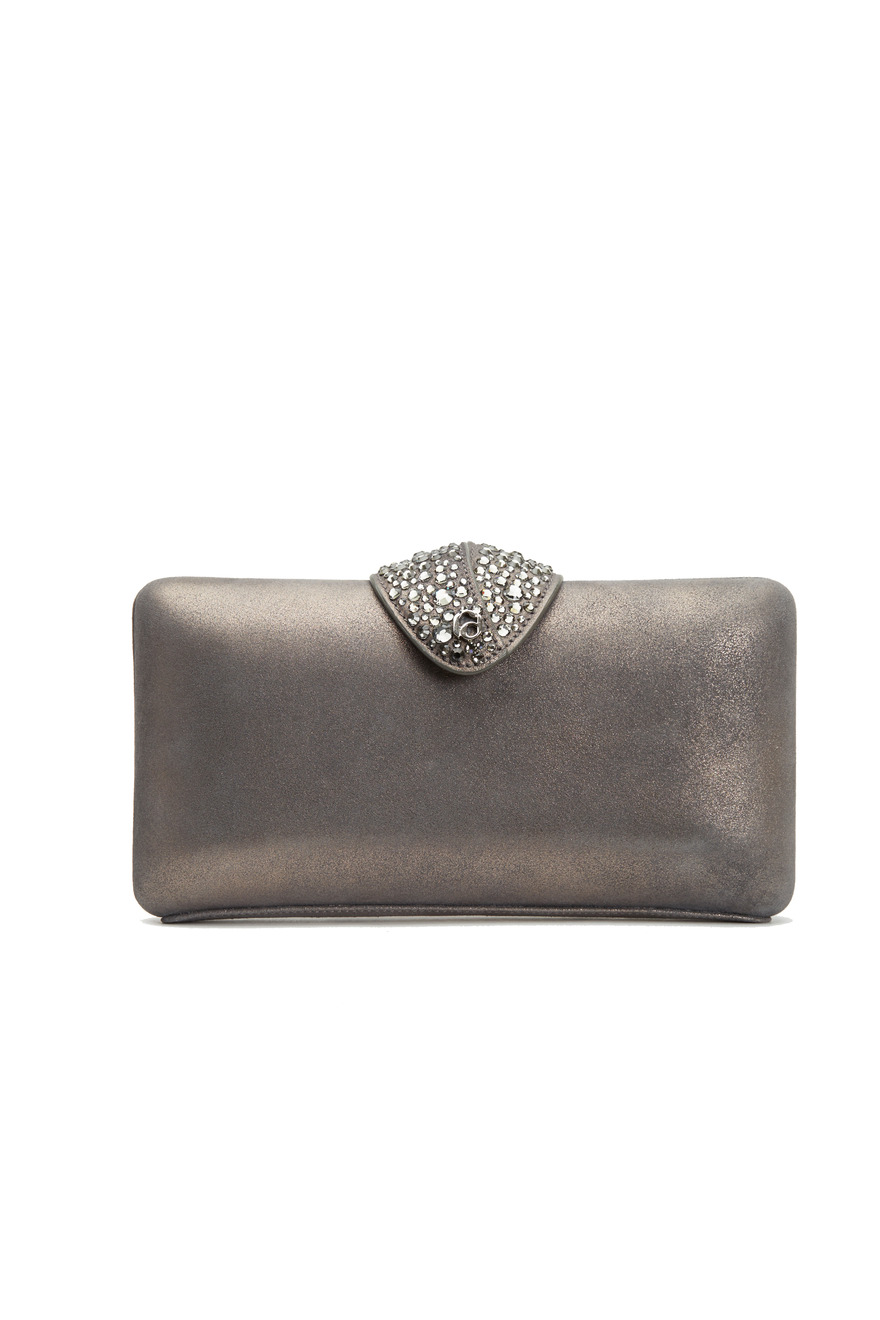 Gun Metal Leather Clutch