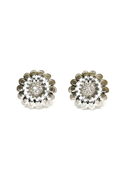 Emily & Ashley - White Gold Diamond Flower Earrings