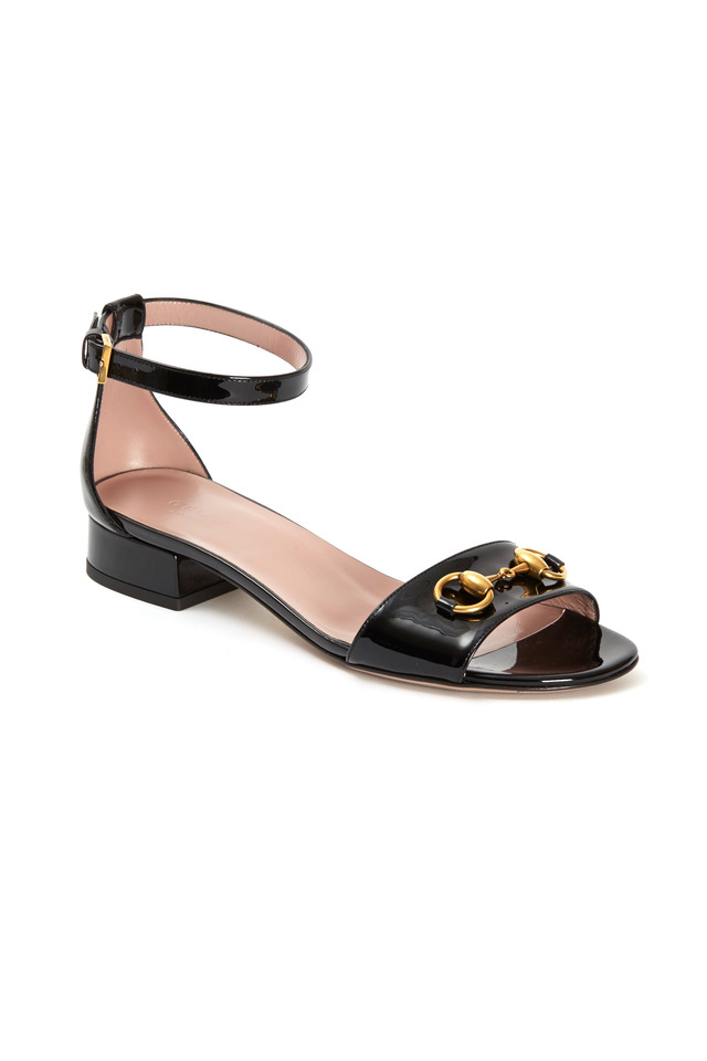Liliane Black Patent Leather Ankle Strap Sandals