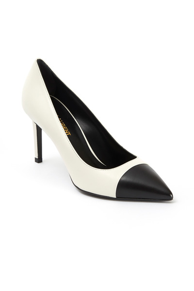 Saint Laurent - White Leather Black Cap Toe Pumps