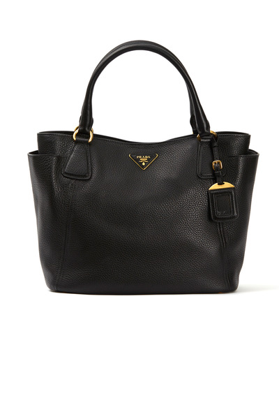 Prada - Black Leather Side Pocket Tote
