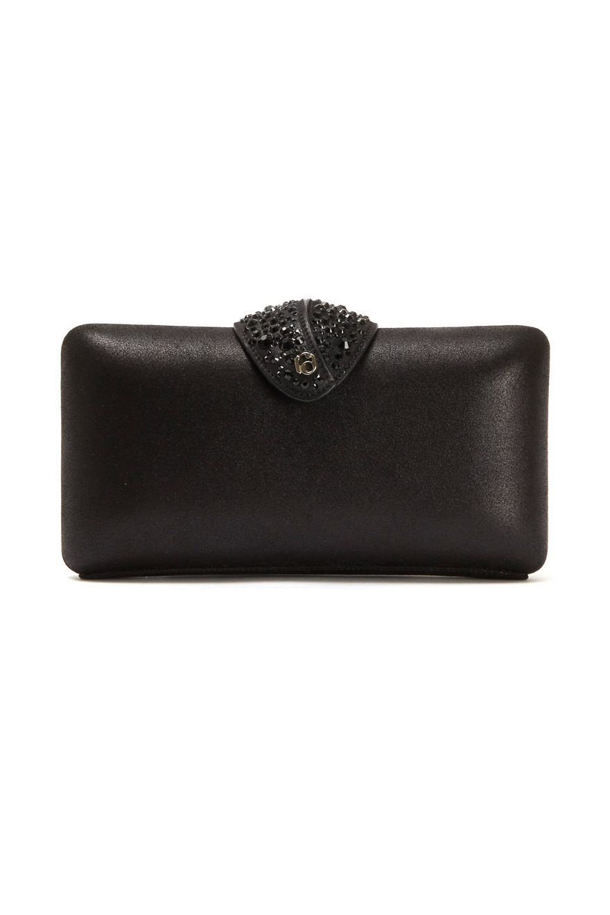 Black Leather Beaded Clasp Clutch