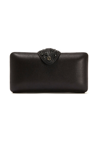 Rodo Firenze - Black Leather Beaded Clasp Clutch