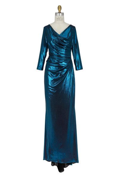 Talbot Runhof - Teal Metallic Ruched Gown