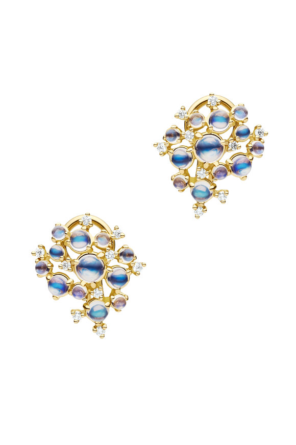 Paul Morelli 18K Yellow Gold Moonstone Bubble Cluster Earrings