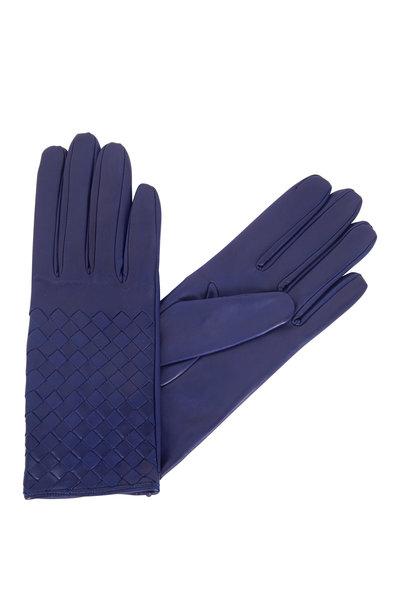 Bottega Veneta - Jewel Blue Leather Woven Gloves