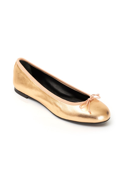 Saint Laurent - Dance Metallic Blush Leather Ballet Flats