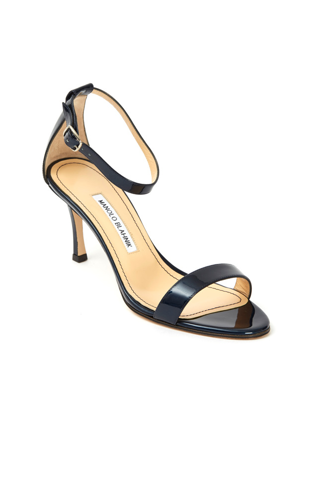 Chaos Navy Blue Patent Leather Ankle Strap Sandals