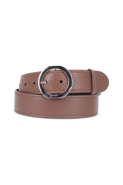Prada - Dark Brown Pebbled Leather Round Buckle Belt