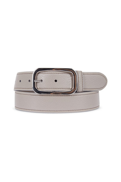 Prada - Gray Pebbled Leather Belt