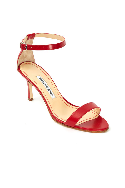 Manolo Blahnik - Chaos Red Patent Leather Ankle Strap Sandals