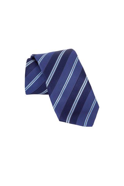 Eton - Navy Blue Striped Silk Necktie