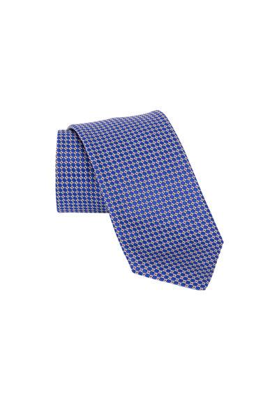 Eton - Blue Geometric Silk & Cotton Necktie
