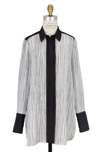 Vince - Black & White Silk Wavy Striped Blouse