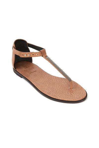 Brunello Cucinelli - Biscotti Leather T-Strap Thong Sandals