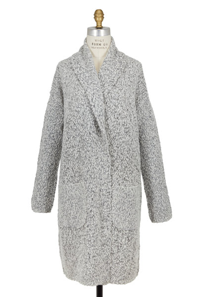 Vince - Light Gray Multicolor Shawl Collar Car Coat
