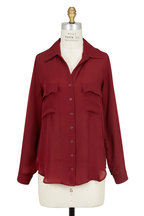 L'Agence - Margaret Brick Red Silk Two Pocket Blouse