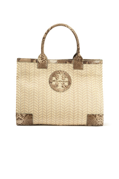 Tory Burch - Ella Natural Raffia Snake Trim Large Tote