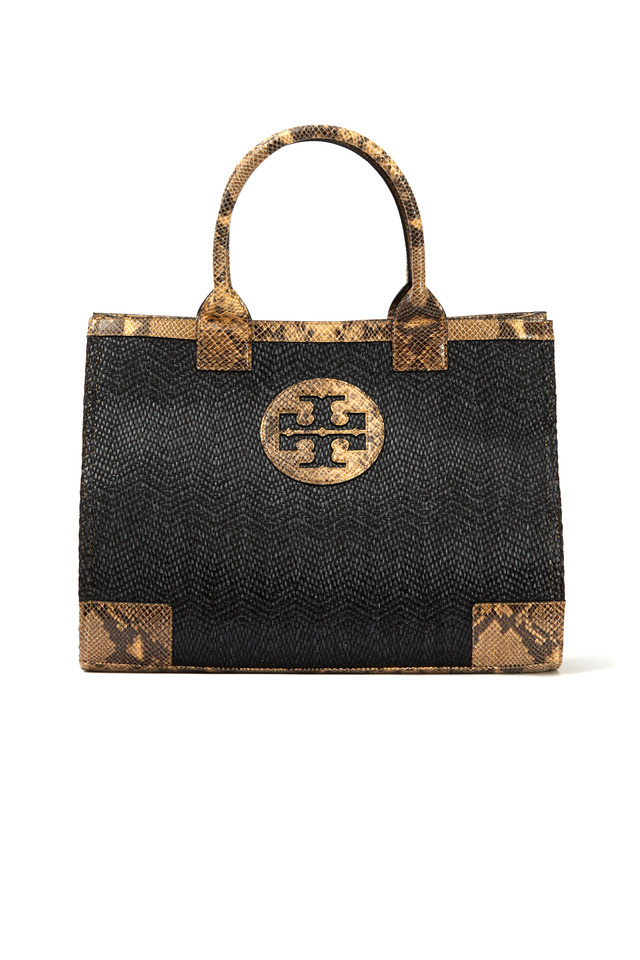 Brown Raffia Snake Trim Tote, Large