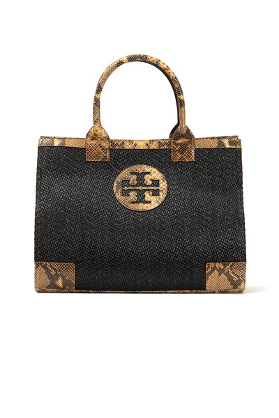 Tory Burch - Brown Raffia Snake Trim Tote, Large