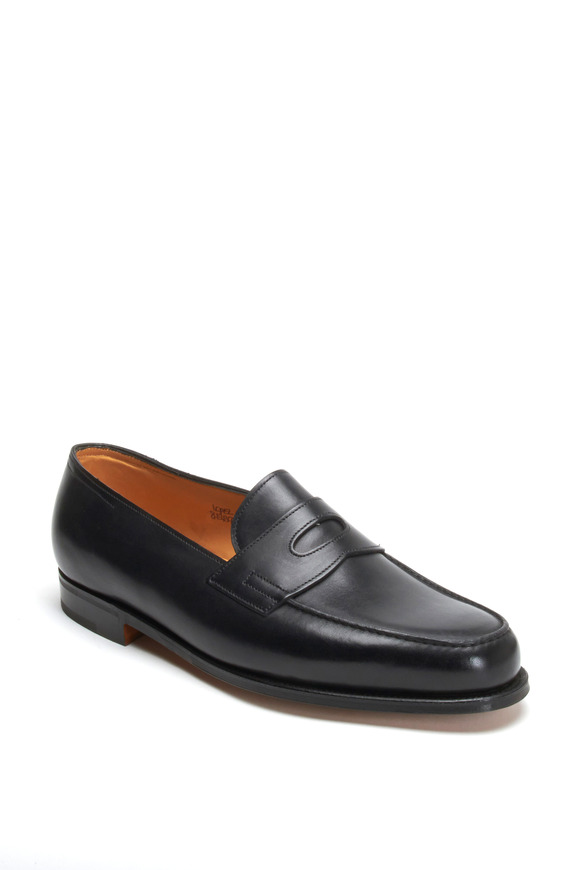 John Lobb Lopez Black Leather Penny Loafer
