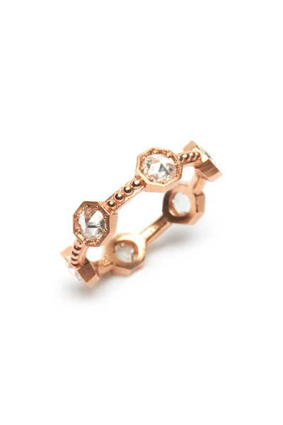 Sylva & Cie - Rose Gold Rose-Cut Diamond Caviar Ring