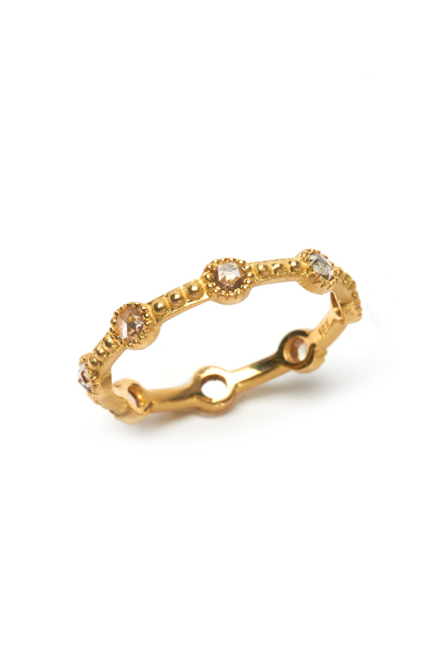 18K Yellow Gold Champagne Diamond Mini Caviar Ring