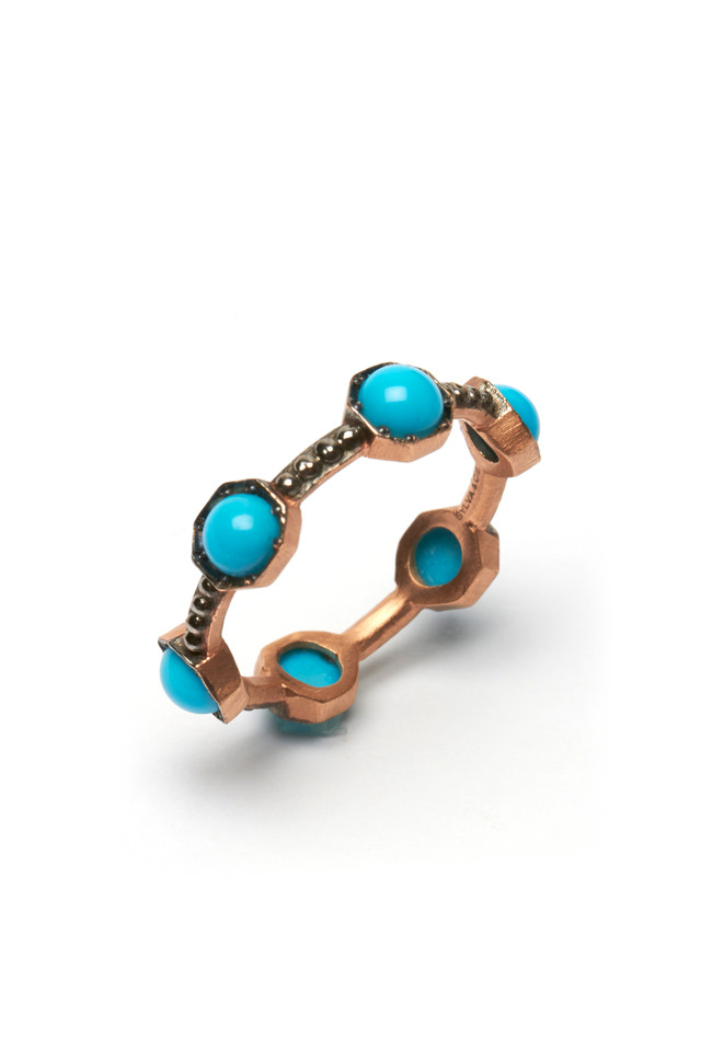 Rose Gold Turquoise Oxidized Caviar Ring