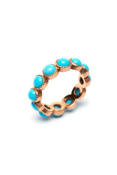 Sylva & Cie - Rose Gold Turquoise Stack Ring
